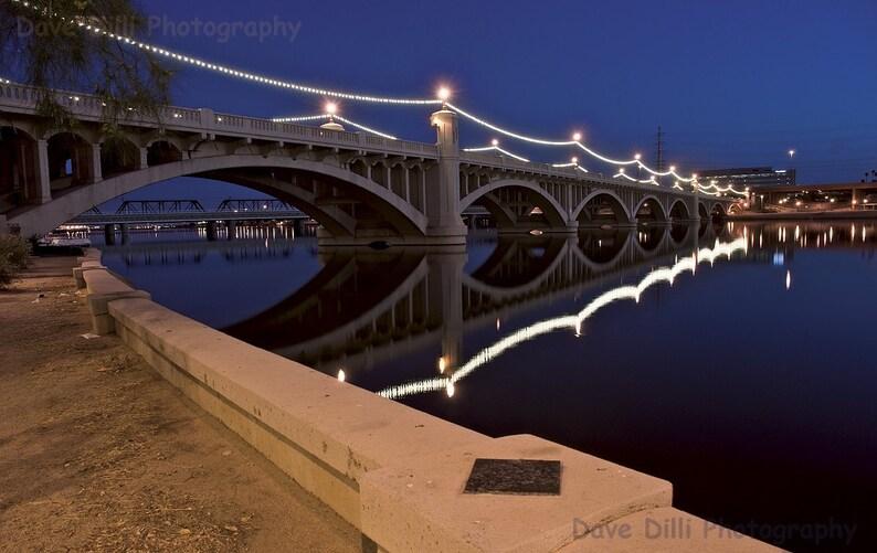 Photograph Tempe Town Blue Lake Night Reflections lights, serenity, calm,  Arizona, AZ - Multiple sizes- Fine Art Photograph