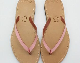 eb6c3468a23c Sale size 39 US 8-8.5  Greek leather slides pink