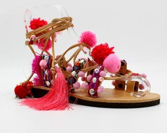 Pink Sandals,Pink Boho Sandals,Leather Gladiator Sandals, pink pompom sandals, sandales pompom, leder sandalen, sandales createur
