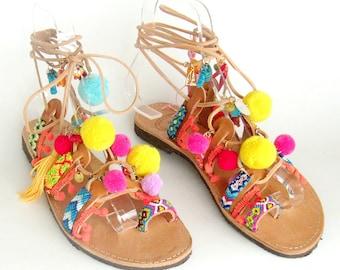 Boho gladiator sandals, hippie sandals, Summer ibiza sandals,Decorated sandals, handmade sandals women,summer shoes women, pompom sandals