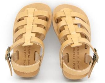 Boys leather sandals. girls gladiator sandals,toddlers sandals, greek sandals children,-Sandales multi-brides en cuir enfant-kids sandals