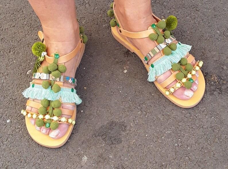0fead16cb8047 Green Womens gladiators boho sandals yellow, pompom gypsy sandals, womens  shoes sandales femme pom pons, nu-pieds femme, sandales grecques