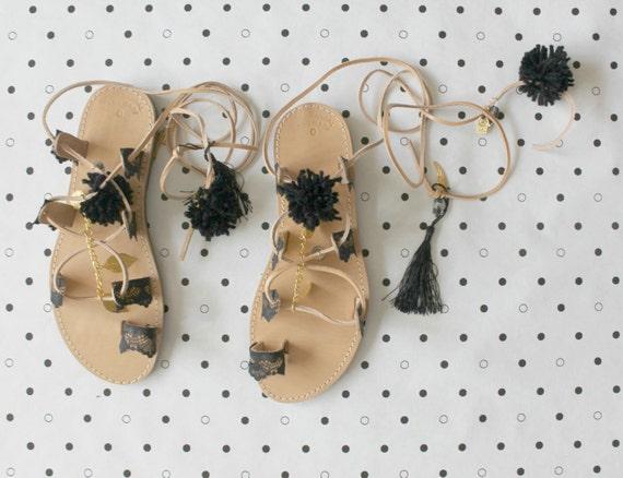 sandals Gladiators womens sandals pompom sandals Black lace YxqdwE5