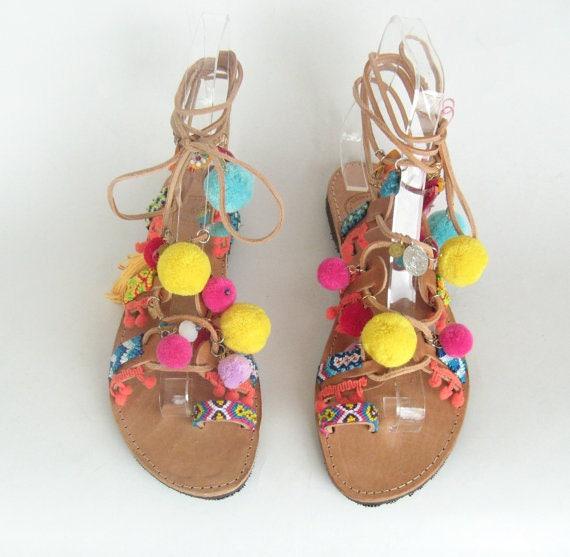sandales pompon pom de Boho sandales sandales pons de grecques sandales de pom pom Sandales w10aqv