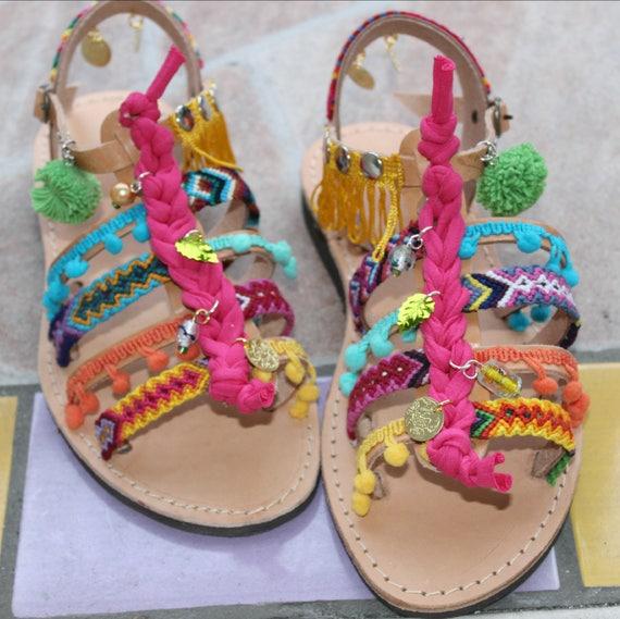 a41d5a727 Children's Gladiator Sandals boho sandals for kids | Etsy