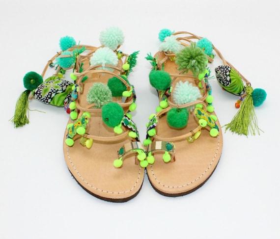 ethnic sandals sandals Sandals femme Pompom sandals Gladiator pieds bohemian nu sandals greek sandals gypsy cuir pompom handmade XPXpq7Bw