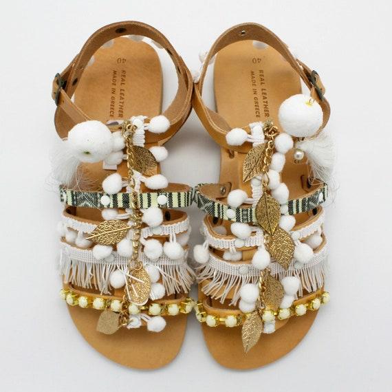 Pom sandales gladiator grecques cuir sandals femme blanches Sandales Sandals Gladiator sandales pom Womens vqxtwrBva