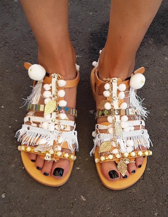 Blanc perles sandales, sandales en cuir, chaussures de mariage, mariage sandales, Sandales mariage, mariées sandales, braut sandalen