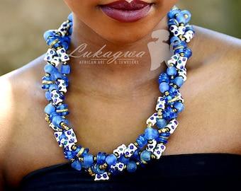 Aqua Blue Chunky Beaded African Necklace,Elegant Cobalt Blue beaded necklace,Blue African beaded necklace,Womens gift,Green beaded Necklace