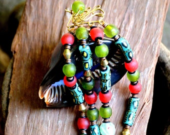 Red and Green beaded bracelet,Red and Turquoise Green layered Bracelet,African Green beaded bracelet for women,Red wearable art bracelet