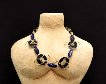Purple Blue chunky African beaded necklace,Exquisite Purple Blue African jewelry,Purple African necklace for women