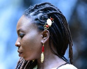 Red African Hair accessories,Red Afrocentric Drop Earrings,Red Hairpin for hair