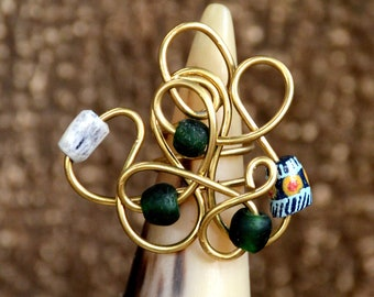 Green Brass Statement ring,Green African Brass Ring,Green African jewelry,Womens gift