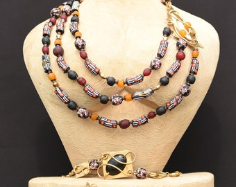 Red layered statement necklace,Orange&Red African layered necklace,Wearable art jewelry,