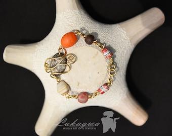 Orange beaded African brass bracelet,Orange brass bracelet,African wired brass charm bracelet,gift for women