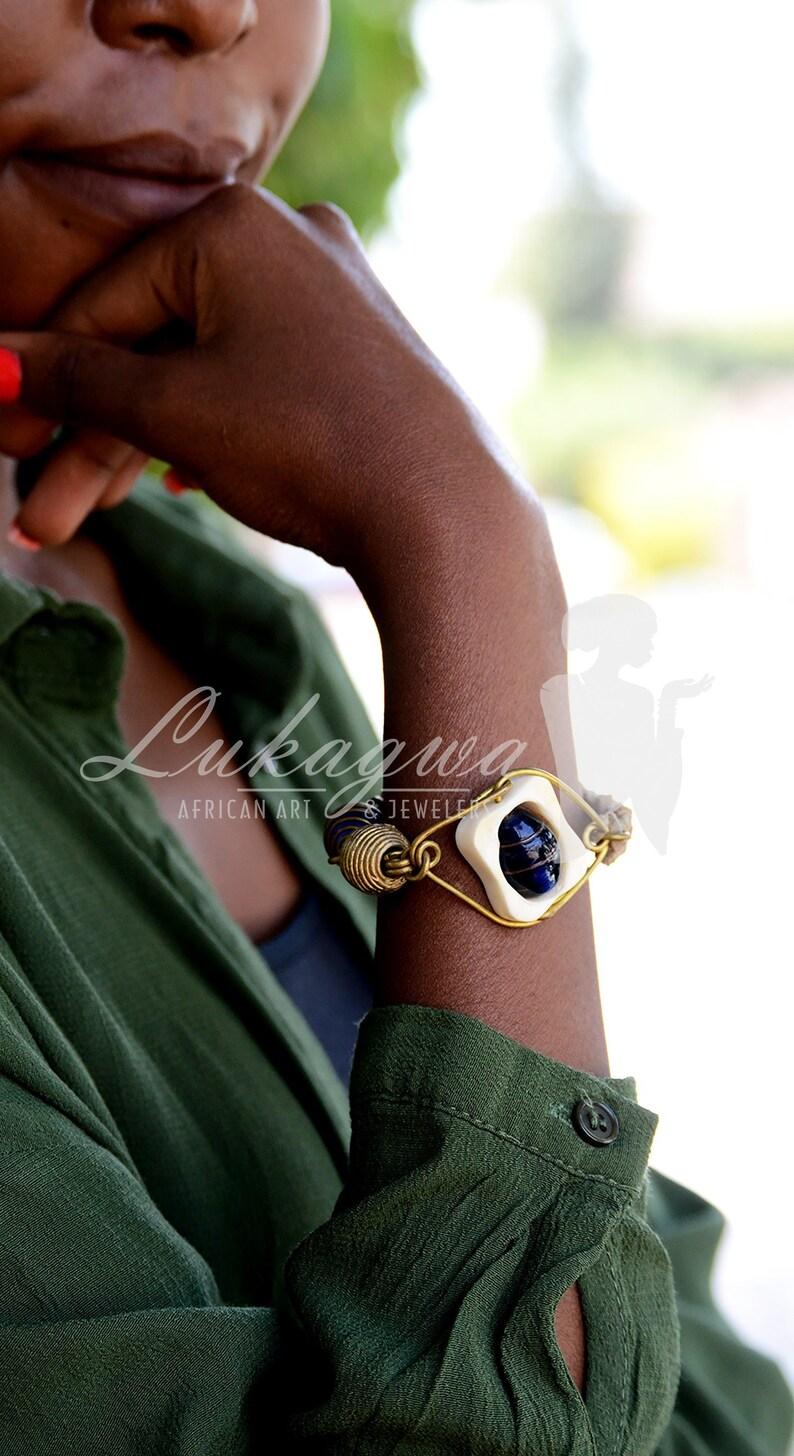 Blue leather Afrocentric braceletAssymetrical Blue Leather image 0