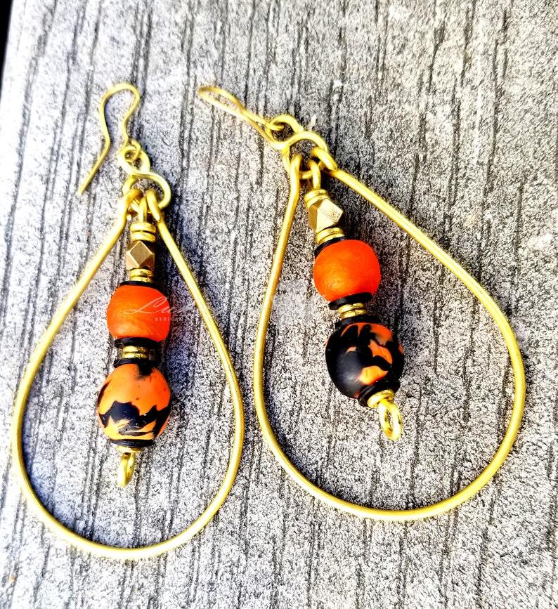 Orange Beaded hoop earrringsOrange African beaded hoop image 0