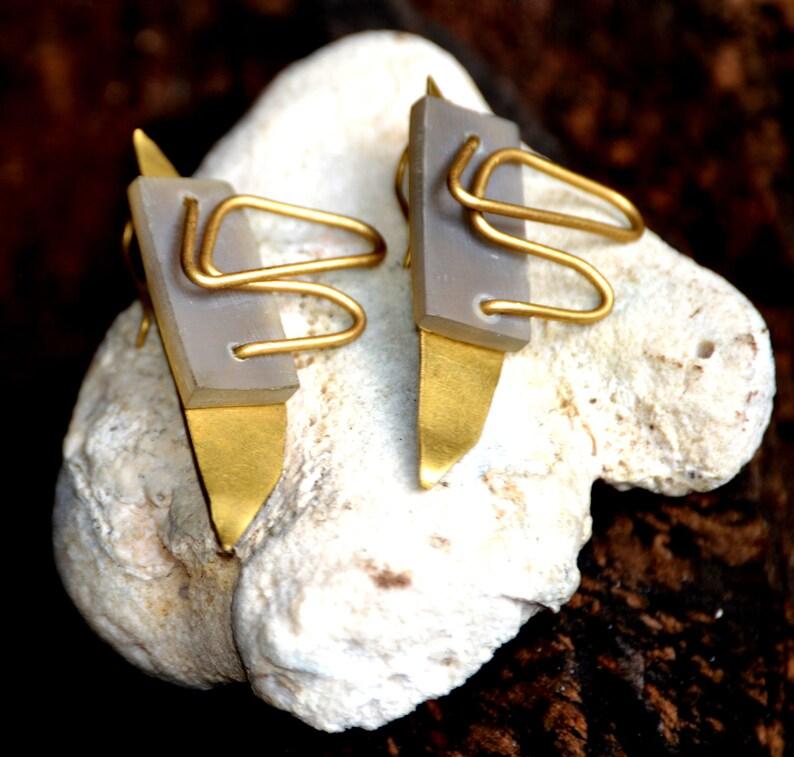 Unique Brass EarringsArtistic Drop earringsAfrocentric Drop image 0