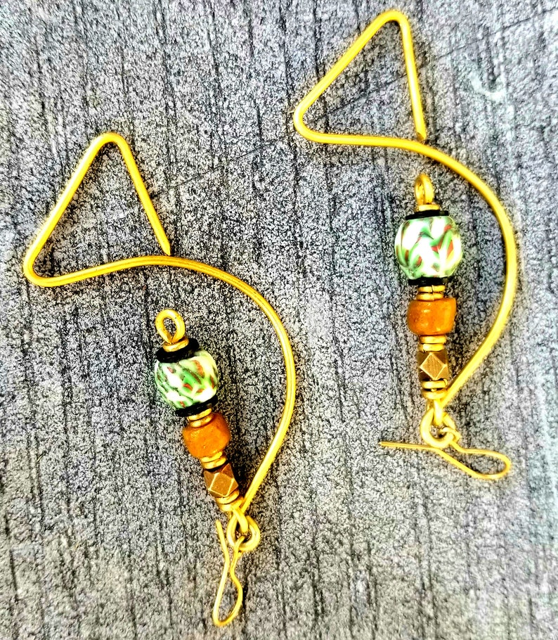Green unique hoop earrings Afrocentric sassy Green earrings image 0