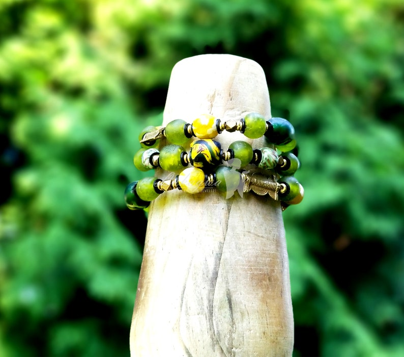 Green layered African braceletChunky Green layered image 0
