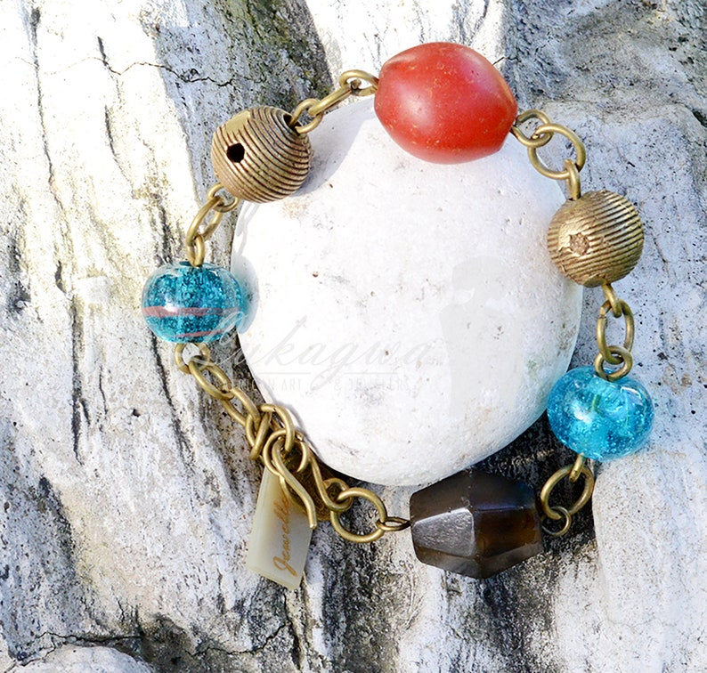 Red and Blue Afrocentric Charm braceletRed African Charm image 0
