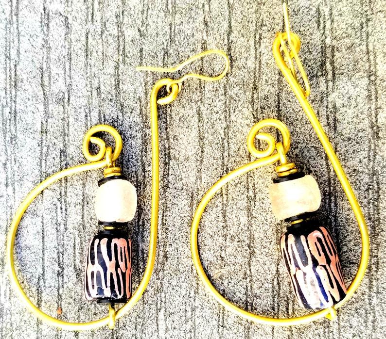 Pink elegant hoop earringsAfrocentric Pink hoop earringsPink image 0