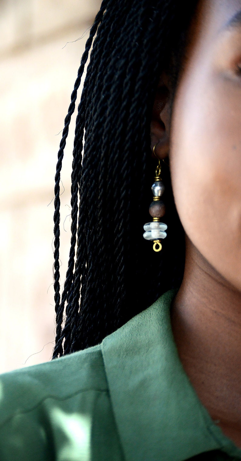 Dark Brown Afrocentric Drop earringsWhite and Brown African image 0