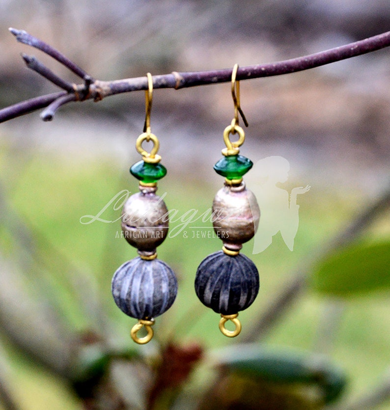 Green Brass Cow Horn drop earringsAfrican Cow horn Drop image 0