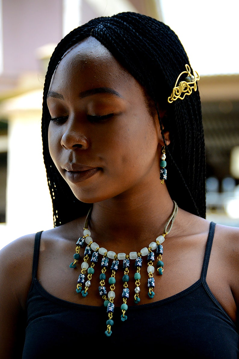 Turquoise Afrocentric beaded choker necklaceTurquoise African image 0