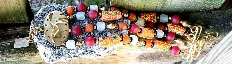 Orange beaded Afrocentric layered braceletStatement Beaded image 0