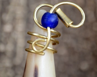Blue Brass statement ring,Delicate African Brass ring,Blue Dainty Brass ring