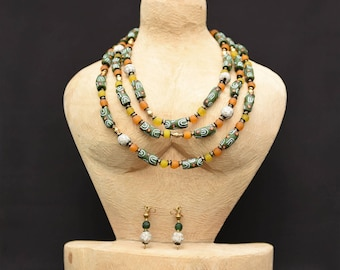 Green&Yellow African layered necklace,Green African beaded necklace,Green jewelry for women,Yellown beaded African layered necklace