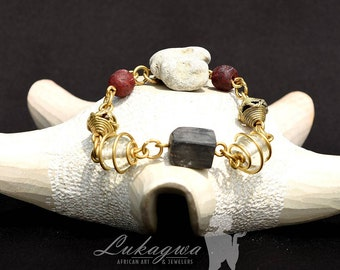 Dainty Brass charm bracelet, Red wired African bracelet, Red beaded African bracelet