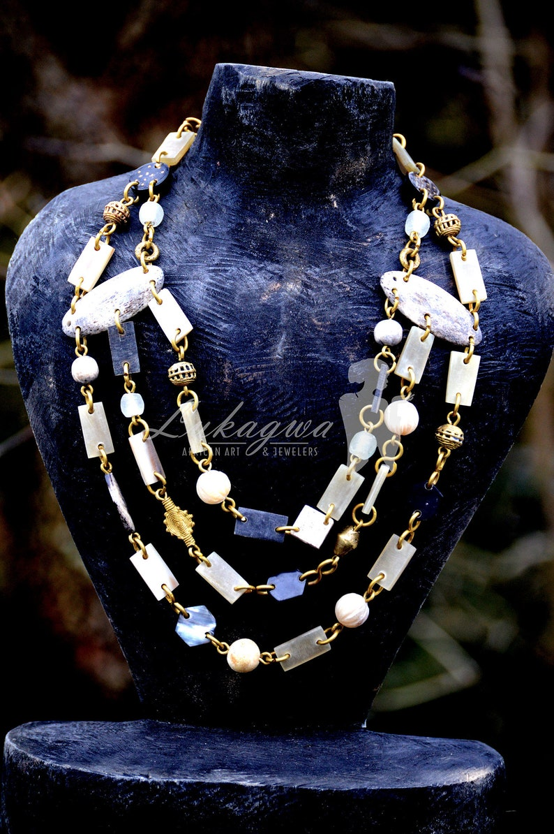 Grey African layered necklaceGray layered Afrocentric beaded image 0