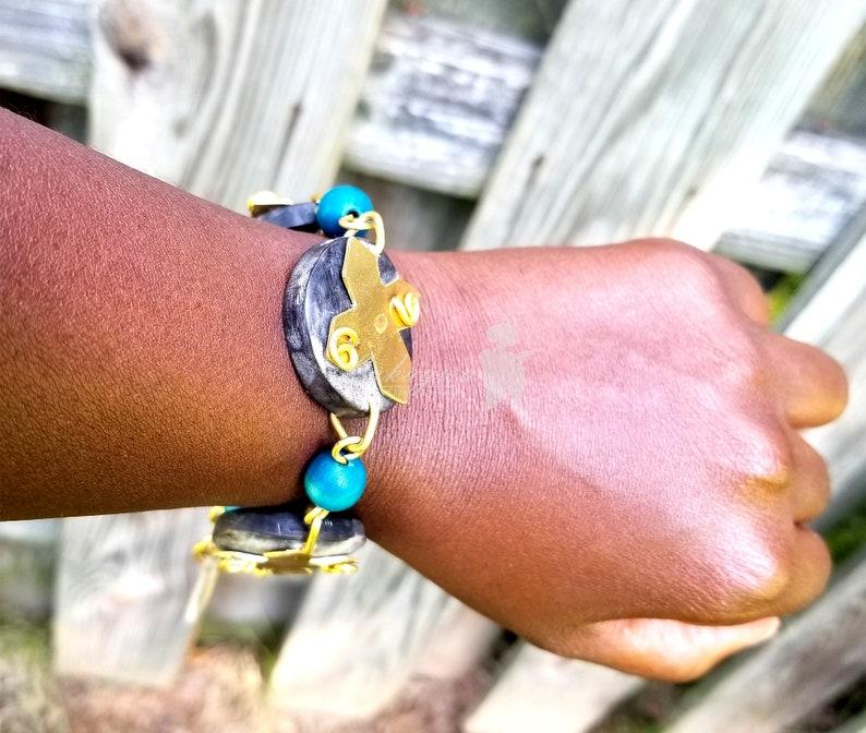 Black Afrocentric Charm braceletBlack African beaded image 0