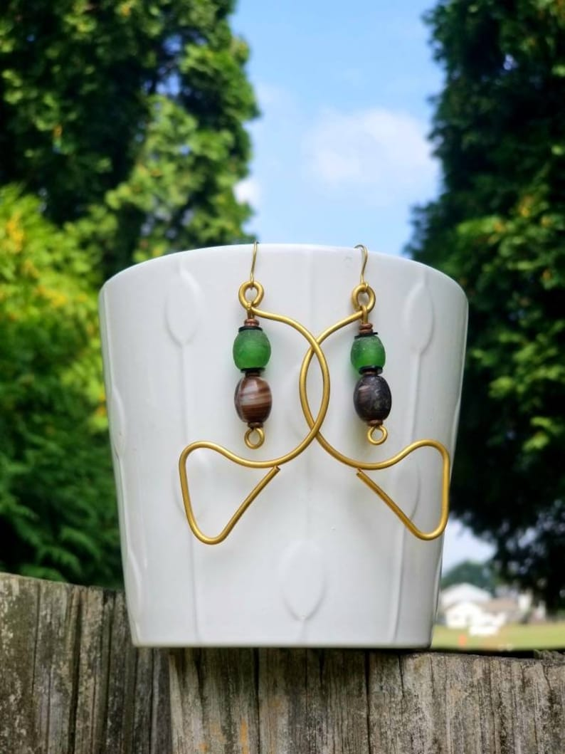 Green unique  Afrocentric drop earrings Green African drop image 0