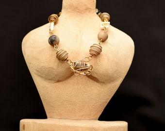 Brown African wired necklace,Beige Beaded African necklace,Wearable art for women