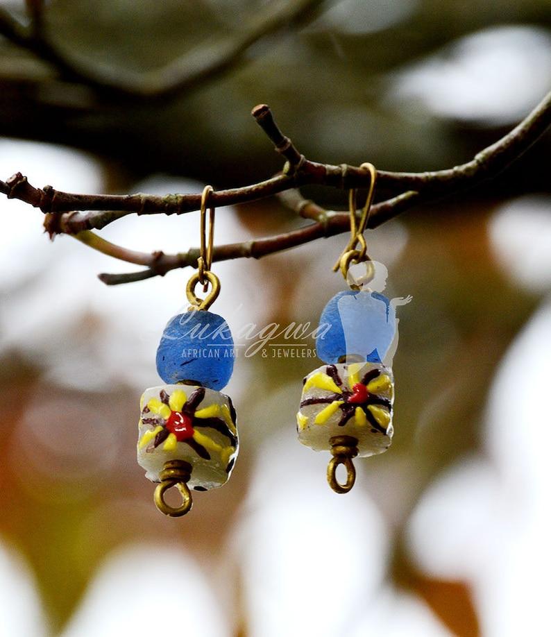 Blue Beaded drop earringsBlue African beaded drop image 0