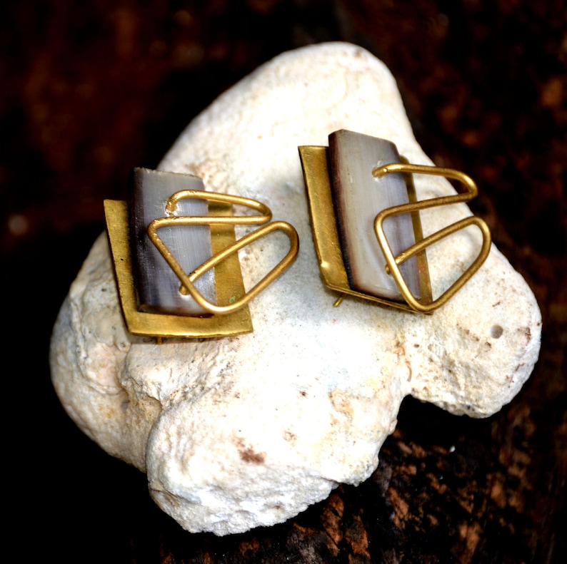 Dashing CowHorn Brass Drop earrings Afrocentric Statement image 0