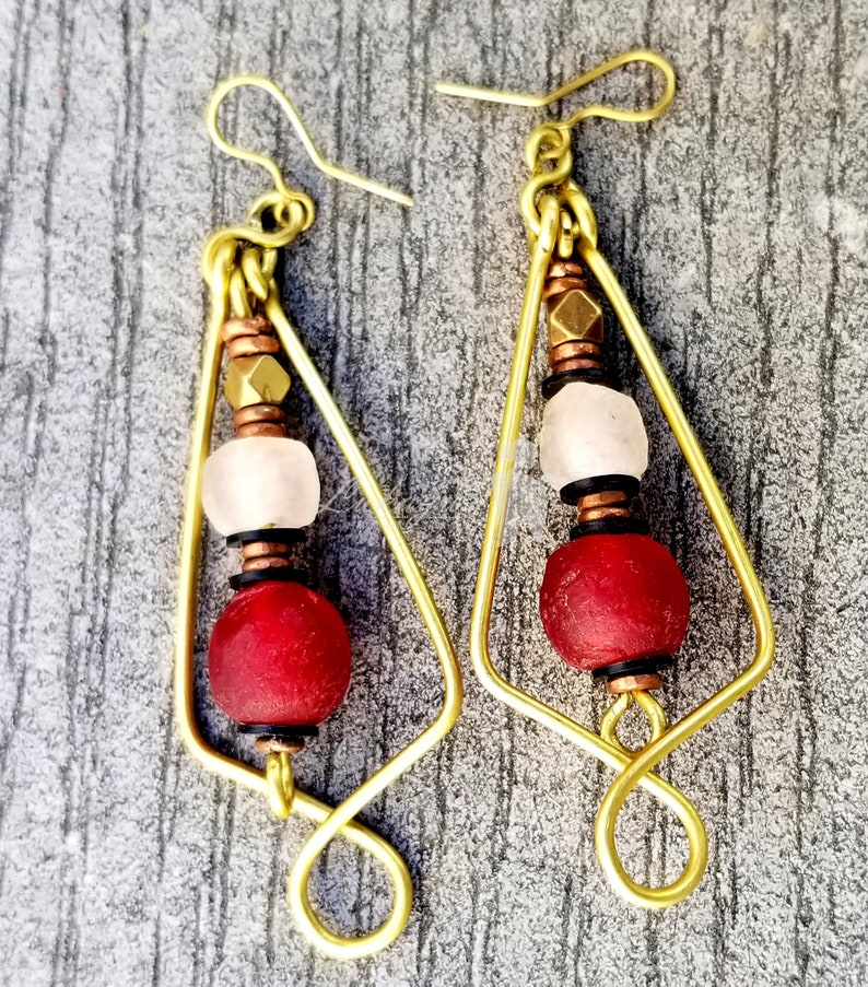Red Afroboho Hoop earringsRed beaded Afrocentric earrings image 0