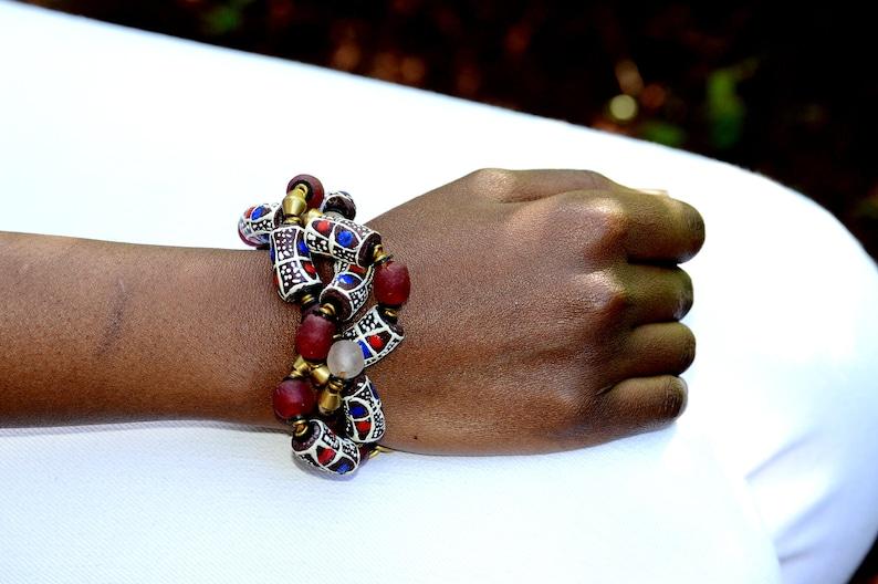 Red African Beaded BraceletAfrican Red beaded bracelet image 0