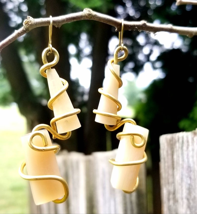 Dashing CowHorn Drop earrings Afrocentric Statement Drop image 0