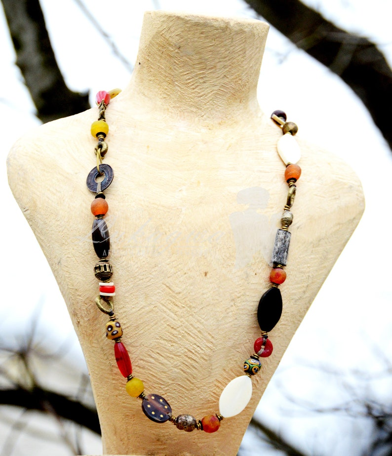 Multicolored Afrocentric Beaded necklaceTie  Afrocentric image 0
