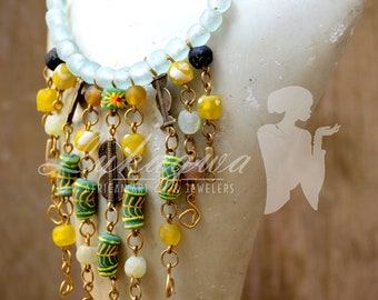 Green and Yellow African choker,Green beaded African choker,Yellow African choker necklace