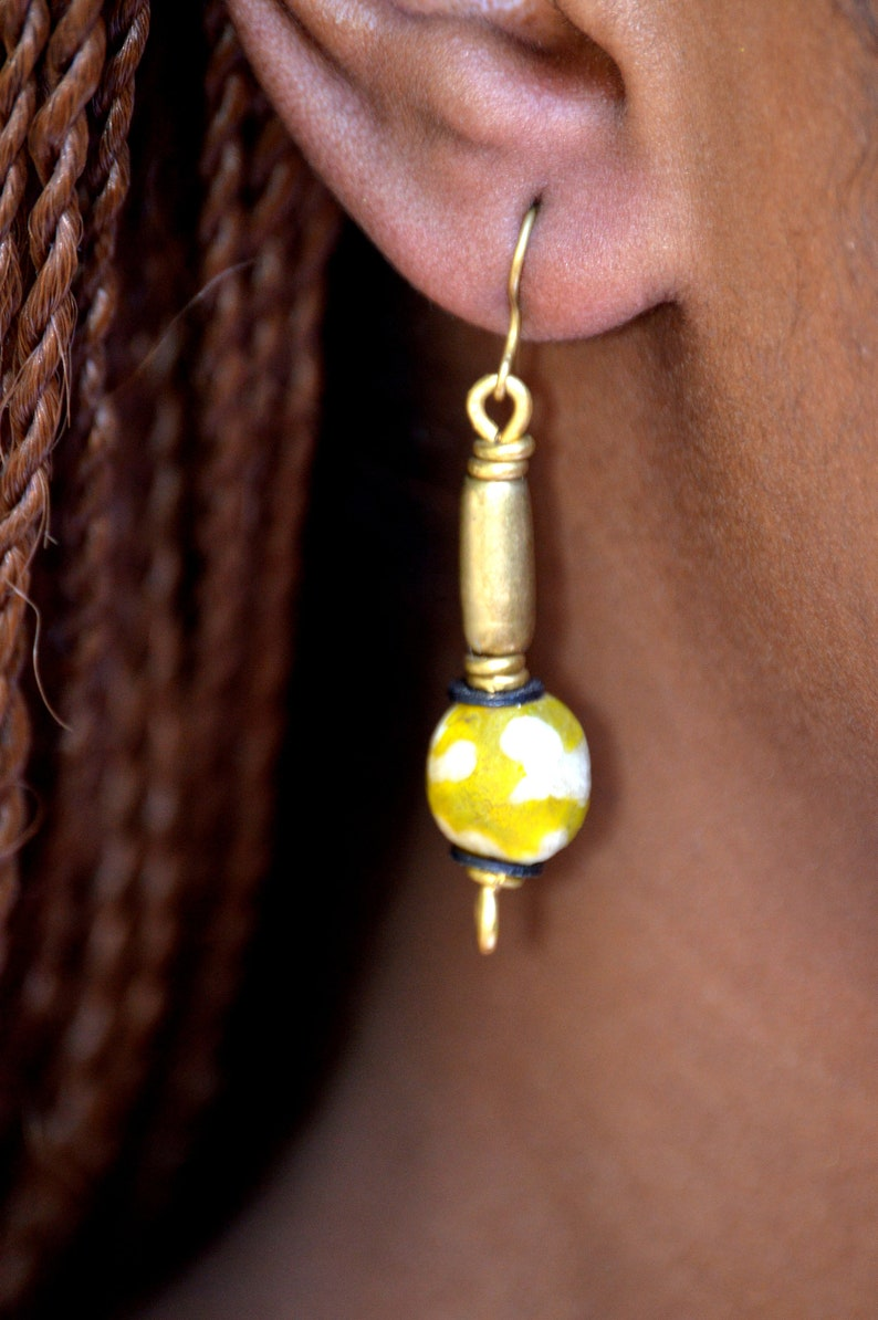 Yellow Recycled Afrocentric Drop earringsYellow African Drop image 0