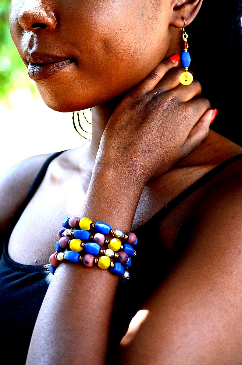 Blue&Yellow layered beaded braceletAfrocentric beaded Maroon image 0