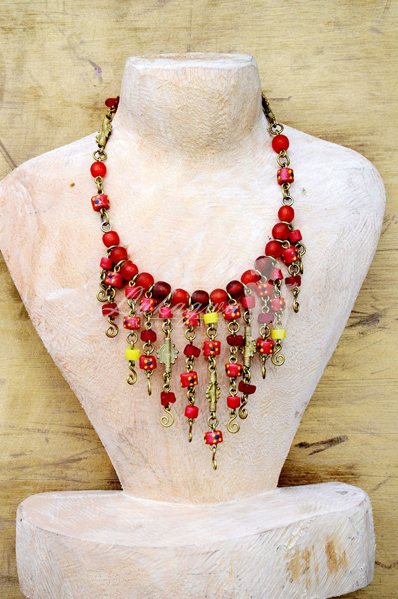 Red Choker Beaded African necklaceChoker Beaded African image 0