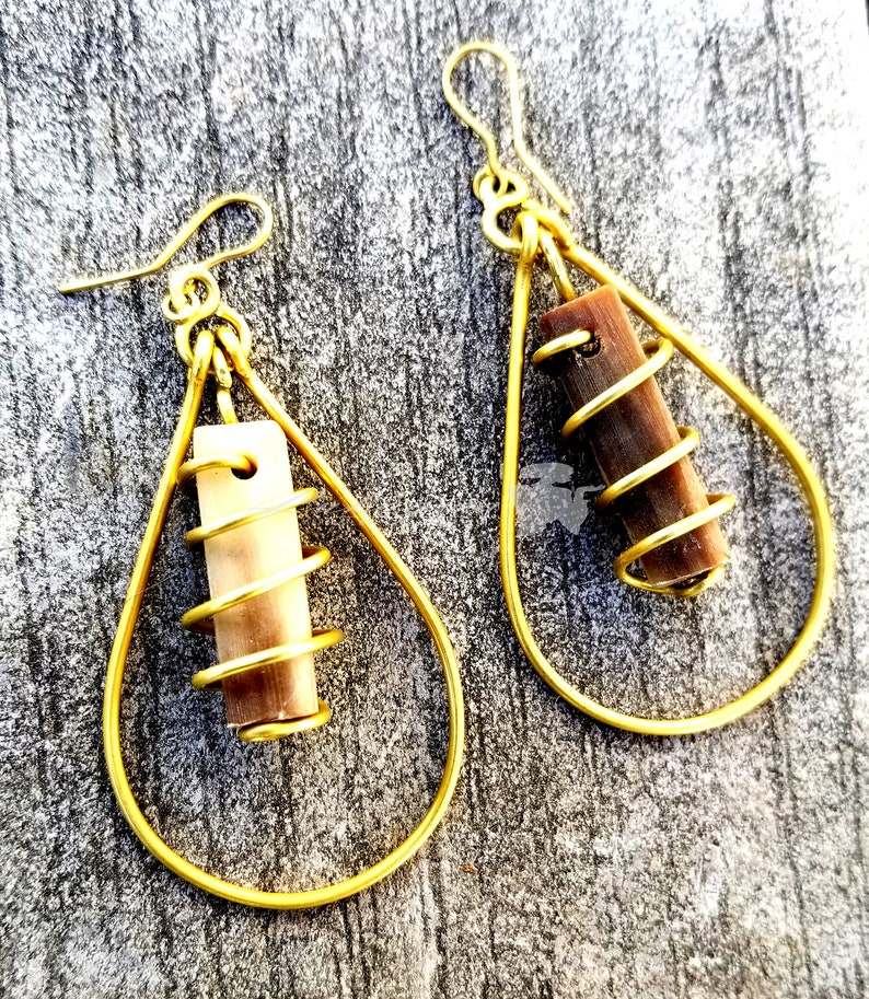 Cowhorn Brass earrings African CowHorn Brass earringsAfrican image 0