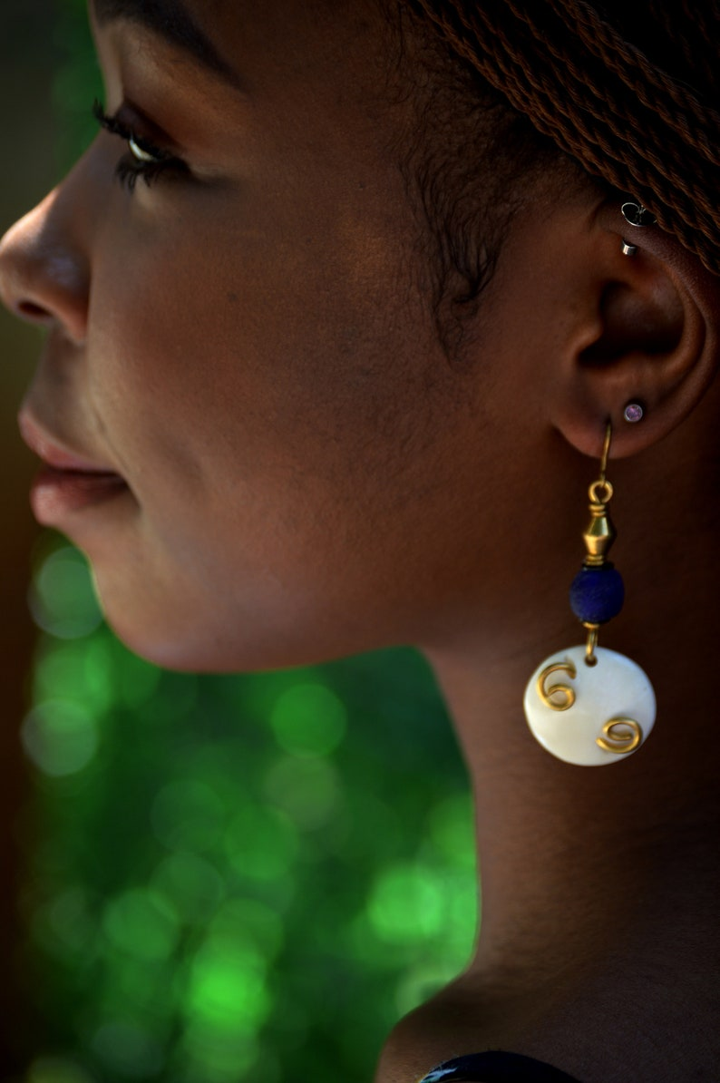 Ivory white and Blue handmade drop earringsAfrican Blue Drop image 0