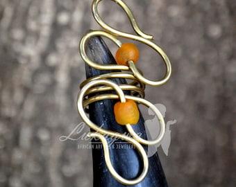 Orange Statement brass ring,Orange statement African ring,Brass Statement Ring,African jewelry for women
